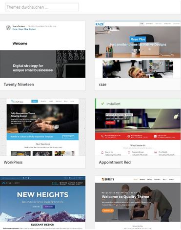 Kostenlose Themes im WordPress Backend